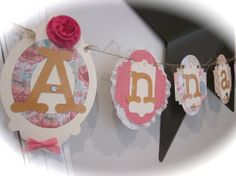 Shabby chic vintage baby name banner baby shower by thisNthat1109, $25.50
