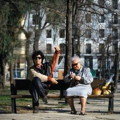 Pedro Almodóvar and his mother.