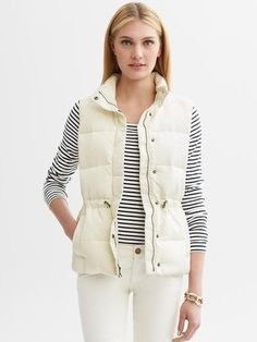 white puffer vest | ShopStyle: White down-filled puffer vest