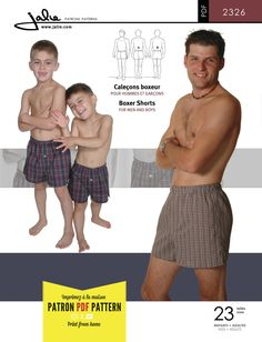 Jalie 2326 Men's and Boys' Boxer Shorts PDF Pattern