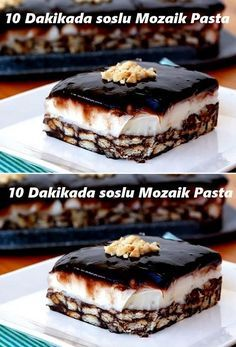 Mosaic Cake with sauce in 10 minutes- Party Fotos, Pasta Cake, Cake Recipes, Dessert Recipes, Turkish Recipes, Chocolate Desserts, Snacks, No Cook Meals, Bakery