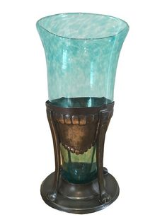 1920s Art Nouveau green glass and pewter vase, made by Liberty & Co. Offered by Henrietta Harper Antiques and Vintage.