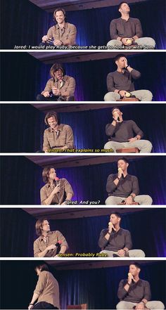 "(gif set) ""If you had to choose a character to play on Supernatural besides Sam and Dean, who would you choose?"" Jared & Jensen convention panel #TorontoCon2012. Oh my God, this is just perfection. I love this too much."