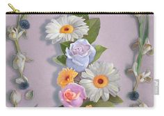 "Click the image to buy this new zippered pouch (three sizes) on Fine Art America. Art © Nancy Lee Moran, ""Daisies, Roses, And Tulips"" has timeless, subtle colors. See (and pin!) garden art from Moran's web page. ♡ http://nancyleemoran.com/ThemedGallery.php ♡ #summer #spring #garden #flowers #rose #daisy #daisies #tulip #cornflowers #leaves #oilpainting #lavender #yellow #blue #purple #FineArtAmerica #NancyLeeMoran"