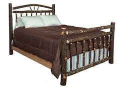 Amish Queen Wagon Wheel Rustic Hickory Bed - Quick Ship Full of rustic comfort, this cozy bed is made with real hickory wood and hickory twigs. #rustic #beds