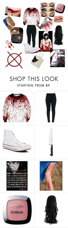 """#7 Jeff the Killer"" by otaku-panda33 ❤ liked on Polyvore featuring Converse, J.A. Henckels and L'Oréal Paris"