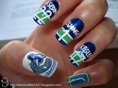 Nail art from the NAILS Magazine Nail Art Gallery, hand-painted, sports, nail art, Hockey Nails, Football Nails, Sports Nail Art, Cute Nails, My Nails, Nails Only, Vancouver Canucks, Toe Nail Designs, Nail Art Galleries