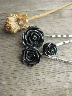 polymer clay black rose bobby pins ($21 for set of 3, etsy - AlmostRealFlowersArt)