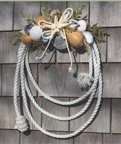 Nautical Rope Shell Wreath~~~easy to change into a ranching theme Seashell Crafts, Beach Crafts, Diy And Crafts, Seashell Wreath, Rope Crafts, Decor Crafts, Coastal Wreath, Coastal Decor, Nautical Wreath