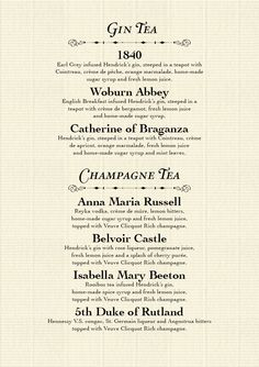 Mr Fogg's Tipsy Tea Menu