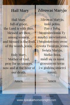 "How to pray the ""Hail Mary"" in Polish and ""Zdrowaś Maryjo"" in English. Hail Mary po Polsku i Zdrowaś Maryjo po angielsku. Poland Culture, Learn Polish, Cherokee Language, Deutsch Language, Polish Words, Polish Language, German Language Learning, German Words, Picture Polish"