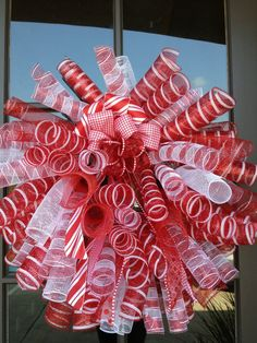 directions christmas wreath   christmas candy spiral poly mesh wreath with by OOPSYDAISYDESIGNS