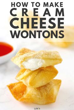 How to Make Cream Cheese Wontons - An ultimate guide to making sweet, spicy and regular cream cheese wontons with options to deep fry, air fry and bake in the oven! This guide makes homemade wontons quick and simple! Air Fry Recipes, Wonton Recipes, Appetizer Recipes, Snack Recipes, Simple Appetizers, Mini Appetizers, Cream Cheese Appetizers, Deep Fryer Recipes, Asian Appetizers