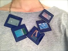 Statement Necklace Frame Blue (back) van NewCools op Etsy
