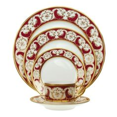 """Rose d'Orient"" china, from Haviland & C. Parlon, is encrusted with 22-kt gold on hand-painted French Limoges porcelain.  Available from Geary's."