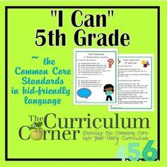 I Can Common Core 5th Grade. Common Core Standards in kid friendly language.