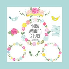 Floral clipart set 3 wedding clipart Digital by Thelittleclouddd, $4.59