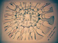 15 hermanos ,tinta y acuarela. by  Antonio Cornejo Niederle.