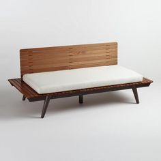Wood Slat Trapani Deep Bench with Cushion - v1