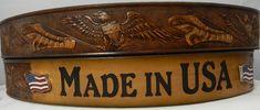 Leather Name Belt with US Flag Conchos Belt, Leather, Belts