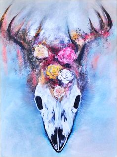 """Acrylic painting """"Deer Skull with Flower Crown"""" by Solveig Noll"""