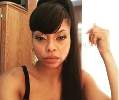 Black Women High Ponytail Hairstyles With Side Bangs African
