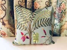 "COLEFAX & FOWLER/JANE CHURCHILL ""MARACATU"" EMBROIDERED ACCENT PILLOW  