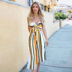 b2f3444c734 Find More Jumpsuits Information about 2018 New Sexy Women Strapless  Jumpsuit Striped Print Sleeveless Bow Wide Leg Pants High Waist Off Shoulder  Playsuit ...