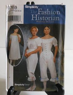Civil War Style Corset Chemise, and Drawers Costume Sewing Pattern