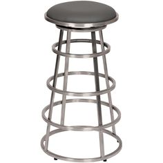 "Armen Living Ringo 26"" Backless Brushed Stainless Steel Barstool in Gray Pu"