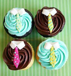 Cupcakes com gravatinhas