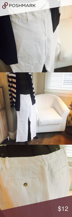 LOFT white lined linen pants with back pockets LOFT white lined linen pants with back pockets.  These pants are so light and airy, even though they are lined.  Sorry for the wrinkles--no times to iron them! LOFT Pants Wide Leg