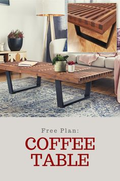 Inspired by the classic George Nelson design, the clean lines and striking geometry, of this coffee table will lend iconic midcentury modern style to any living space. And you can build it yourself with a few basic tools and step-by-step project plan!  #diy #diycoffeetable #freeplan #downloadableplan #dreamhome Cool Woodworking Projects, Diy Woodworking, Diy Coffee Table Plans, Diy Table, Furniture Plans, Basic Tools, George Nelson, Living Spaces, Clean Lines