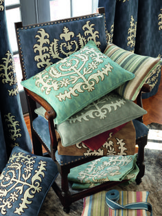 """Travers' new collection inspired by recent trip to India and Norman Parkinson's exhibit """"Pink is the Navy Blue of India"""" The collection reflects India's bold colors and intricate patterns beautifully. #textiles #design"""