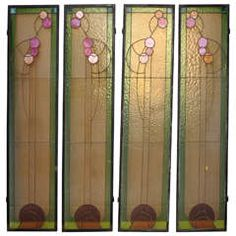 Set of Four Art Nouveau Stained Glass Windows Attributed to Victor Horta