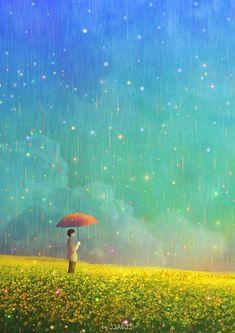 봄비의 색(The colors of spring rain) Beautiful Drawings, Cute Drawings, Rain Illustration, The Colour Of Spring, Cartoon Eyes, Tumblr Wallpaper, Art Sketchbook, Cute Art, Art Girl