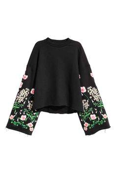 Wyszywana bluza  - Czarny/Kwiaty - ONA | H&M PL