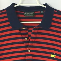 Men's XL Masters Collection Polo Shirt Golf Red Blue Striped Short Sleeve Cotton #Masters #PoloRugby