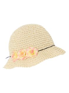 Keep her head safely shaded from the sun in this pretty bucket hat. Embellished with a bow and pink flowers, this makes the perfect accessory for summer dresses.  Girls multicoloured straw bucket hat String bow detail Floral attachments Keep away from fire