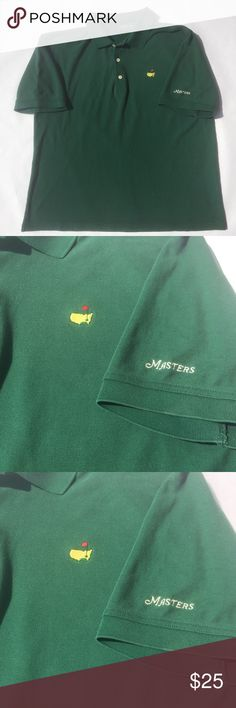 Augusta National Masters Tournament Golf Polo Sz L Preowned Master's Collection Augusta National Green Polo Shirt  Size: Large  Color: Green  Condition: Good (small black dot on left back shoulder and slight color fading)  Measurements:   - Length: 26 in   - Chest: 23.5 in   - Shoulders: 21 in   - Sleeves: 10.5 in Shirts Polos
