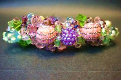 Hand beaded hair clip barrette, Pink, green, lavender, Prom, Bridal, Wedding, all occasion accessories - pinned by pin4etsy.com