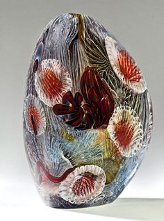 ERIC RUBINSTEIN | 'Aquascape' series - Dark Amber with Silver Gray filaments and Cranberry Anemones Art-Glass Vessel