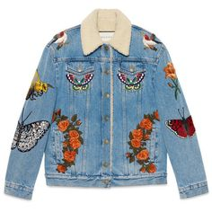 Gucci Embroidered Denim Jacket (€3.725) ❤ liked on Polyvore featuring outerwear, jackets, coats, coats & jackets, denim, ready to wear, women, embroidered jean jacket, embroidery jackets and jean jacket