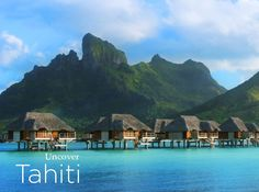Over-water bungalows in Tahiti - #travel