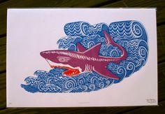 SHARK ATTACK Woodcut Print. $55.00, via Etsy.