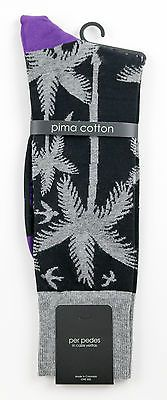 Men's PER PEDES Easy Living Black Palm Tree Mercerized Cotton Socks NWT $32