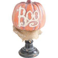 Boo Pumpkin Decor in Orange