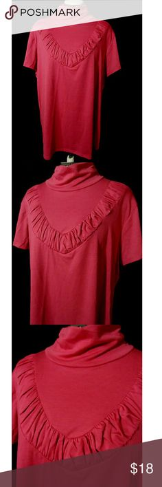 """MOA MOA Ruched Blouse T-shirt Plus 1X-2X Pink Individual monitors may display slightly different colors or hues...  NEW WITH TAGS-  MOA MOA  TAG SIZE: 1X or 2X BUST: 1X-46"""" 2X-50"""" LENGTH: 27-28"""" from top of the shoulder down  Super soft top Mock neck Ruched bust design Stretch knit Short sleeve Bright salmon pink in color NEW NEW NEW! Moa Moa Tops Tees - Short Sleeve"""