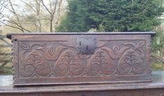 18th century carved oak bible box Antique Pine Furniture, Antique Wooden Boxes, Art Patterns, Pattern Art, Classic Elegance, Woodcarving, Pilgrim, Welsh, 17th Century