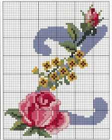 Steel Blue with Roses Alphabet Cross Stitch Pattern Z Cross Stitch Letters, Cross Stitch Love, Cross Stitch Flowers, Cross Stitch Charts, Cross Stitch Designs, Cross Stitching, Cross Stitch Embroidery, Hand Embroidery, Beading Patterns
